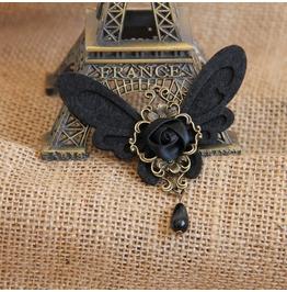 Handcraft Black Rose Butterfly Vampire Gothic Brooch Br 15