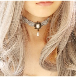 Handcraft White Ancients Palace Lace Lolita Gothic Necklace