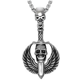 Winged Skull Sword Pendant Necklace