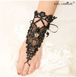Handcraft Black Lace Long Glove Punk Gothic Glove W 24