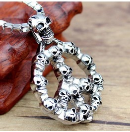 Peace Sign Skull Pendant Necklace