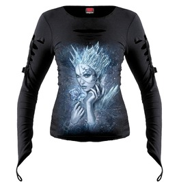 Brand New Black Ice Queen Slashed Goth Glove Top