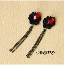 Black Lace Ruby Tassels Gothic Earring