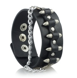 Steampunk Bullets Links Chain Leather Bracelet