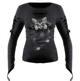 Brand New Black Cat Slashed Goth Glove Top