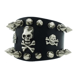 Steampunk Skull Spike Leather Bracelet