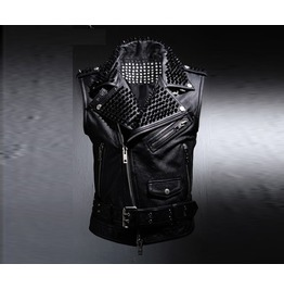 Mens Custom Lux Rider Black Stud Vest