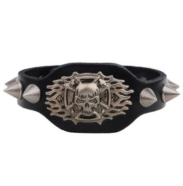Gothic Skull Spikes Leather Bracelet