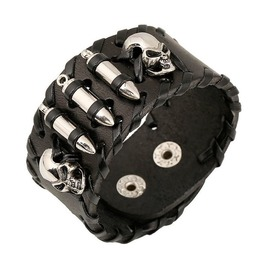 Gothic Skull Bullets Leather Bracelet