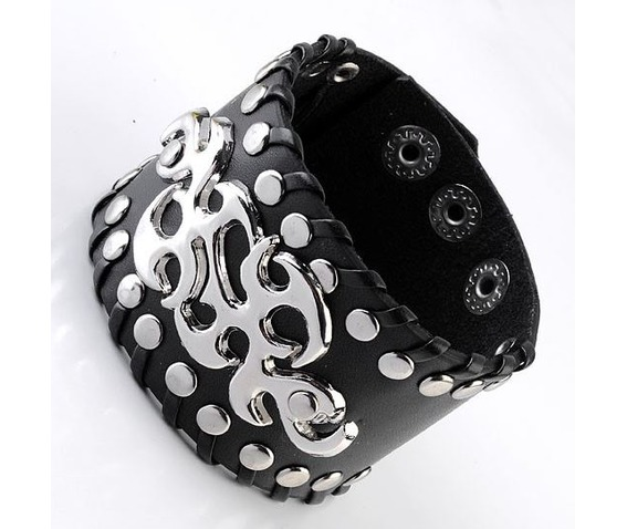 ornate metal work rivets leather bracelet 115820