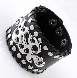 Ornate Metal Work Rivets Leather Bracelet