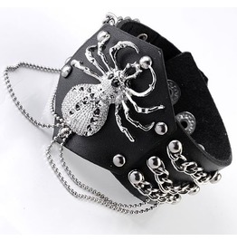 Scary Spider Links Chain Rivets Leather Bracelet