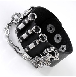 Bullets Scorpion Links Chain Leather Bracelet