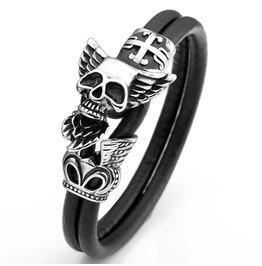 Skull Wing Metal Work Leather Bracelet