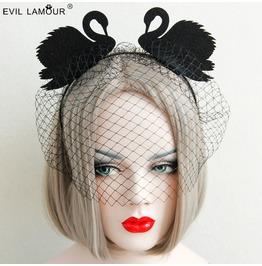 Handcraft Black Swan Grenadine Gothic Headwear Fg 11