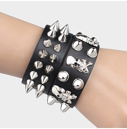 Rivets Skull Leather Bracelet 2 Pc. Set