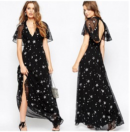Summer Stars Chiffon Ladies Party Evening Beach Long Maxi