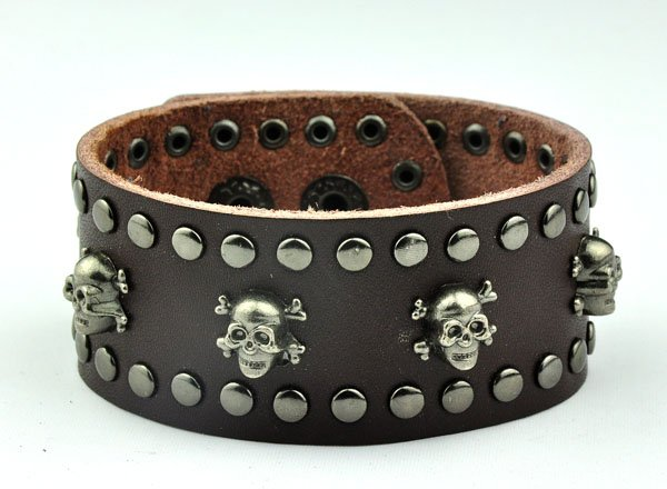 rivets skull leather bracelet 115887