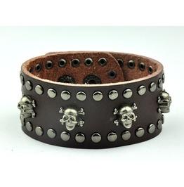 Rivets Skull Leather Bracelet