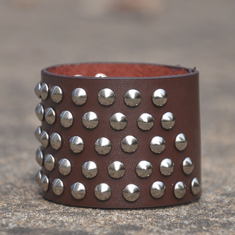 Five rows rivets leather bracelet 115891 for Rivets for leather jewelry