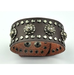 Metal Works Rivets Skull Leather Bracelet
