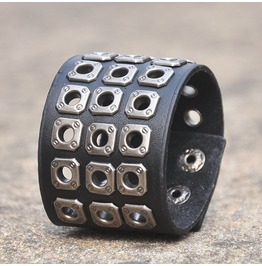 Three Rows Square Buttons Skull Leather Bracelet