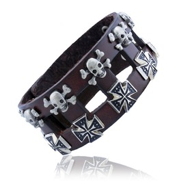 Skull Cross Leather Bracelet