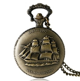 Vintage Bronze Sailing Ship Fob Pocket Watch