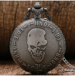 Vintage Bronze Skull Pocket Watch