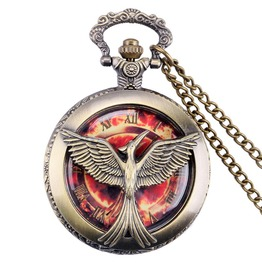 Vintage Bronze Flame Bird Pocket Watch