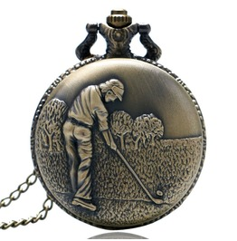 Vintage Bronze Golfing Pocket Watch