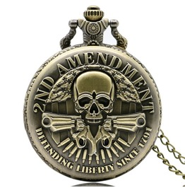 Vintage Bronze Skull Guns Pocket Watch