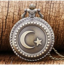 Vintage Bronze Star Moon Pocket Watch
