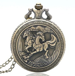 Vintage Bronze Double Horse Pocket Watch
