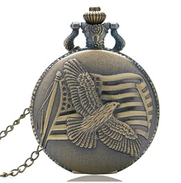 Vintage Bronze Flying Eagle Pocket Watch