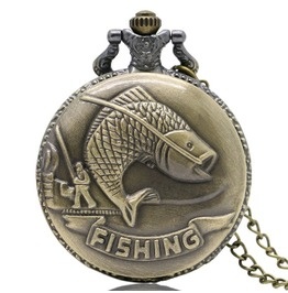 Vintage Bronze Fishing Pocket Watch