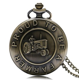 Vintage Bronze Farmer's Truck Pocket Watch