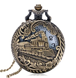 Vintage Bronze Steam Train Pocket Watch