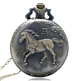 Vintage Bronze Horse Pocket Watch