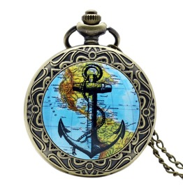 Vintage Bronze Anchor World Map Pocket Watch
