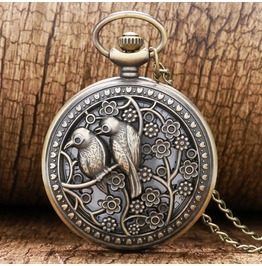 Vintage Bronze Birds Pocket Watch