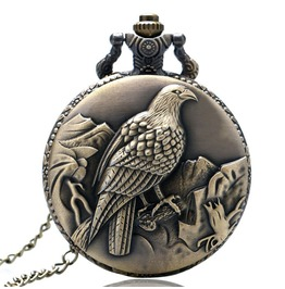 Vintage Bronze Sitting Eagle Pocket Watch