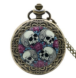 Vintage Bronze Skull Red Rose Pocket Watch