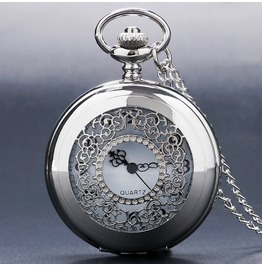 Filigree Pattern Silver Tone Pocket Watch