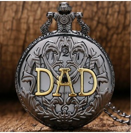 Vintage Black Bronze Dad Pocket Watch