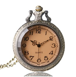 Vintage Bronze Faceted Glass Pocket Watch