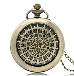 Vintage Bronze Ancient Characters Pocket Watch