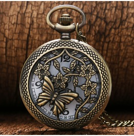 Vintage Bronze Butterfly Pocket Watch