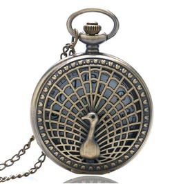 Vintage Bronze Peacock Pocket Watch