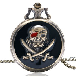 Vintage Bronze Skull Pirate Pocket Watch